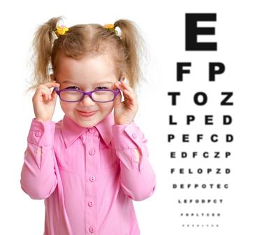 ילדה עם משקפיים לצד פוסטר בדיקת עיניים